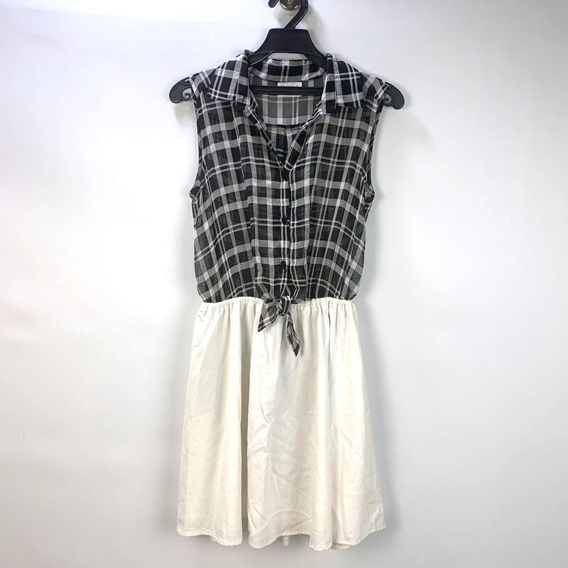 200701舊愛古著~黑色格紋透膚無袖拼接白色洋裝