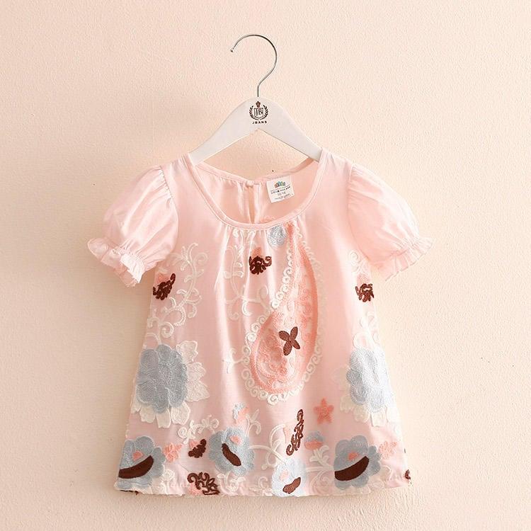 兒童短袖打底衫女童t恤夏季2018新款韓版寶寶童裝繡花上衣tx-7203【潮咖地帶】