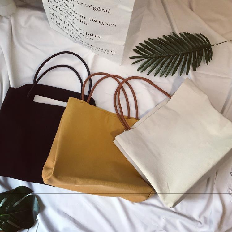 韓國簡約純色帆布袋女文藝單肩帆布包環保袋手提帆布袋大購物袋【潮咖地帶】