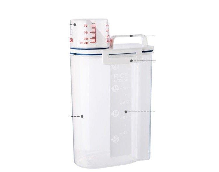 2KG 米桶【防潮防蟲儲存罐】手提有蓋帶量杯儲存罐 五穀雜糧 黃豆 保存 手提塑膠桶 手提收納箱