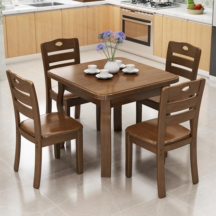 餐桌 實木餐桌正方形折疊伸縮木質吃飯桌子家用小戶型4人6人餐桌椅組合