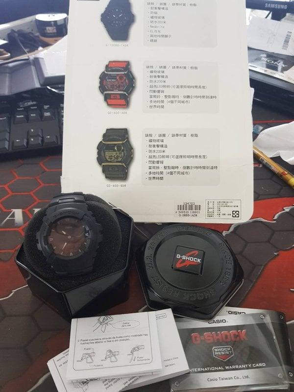 福利品 CASIO 卡西歐 G-SHOCK 指針數字雙顯錶(消光黑) G-100BB-1ADR 手錶