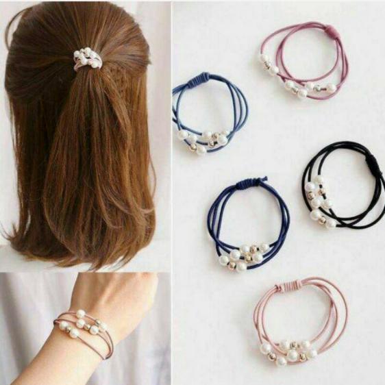 全新珍珠髮圈~9個~6色