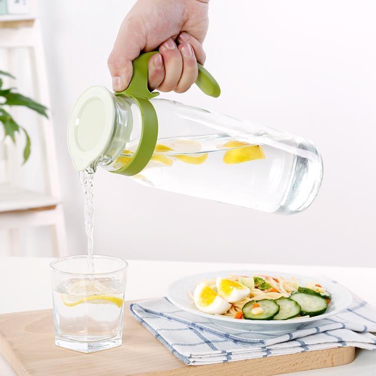 大容量冷水涼水壺泡茶壺透明玻璃果汁飲料壺家用耐高溫防爆開水【潮咖地帶】