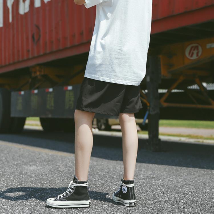 【可開發票】酷酷的闊腿運動短褲女夏季薄款中性bf風寬鬆五分褲韓版學生休閒褲—聚優購物網