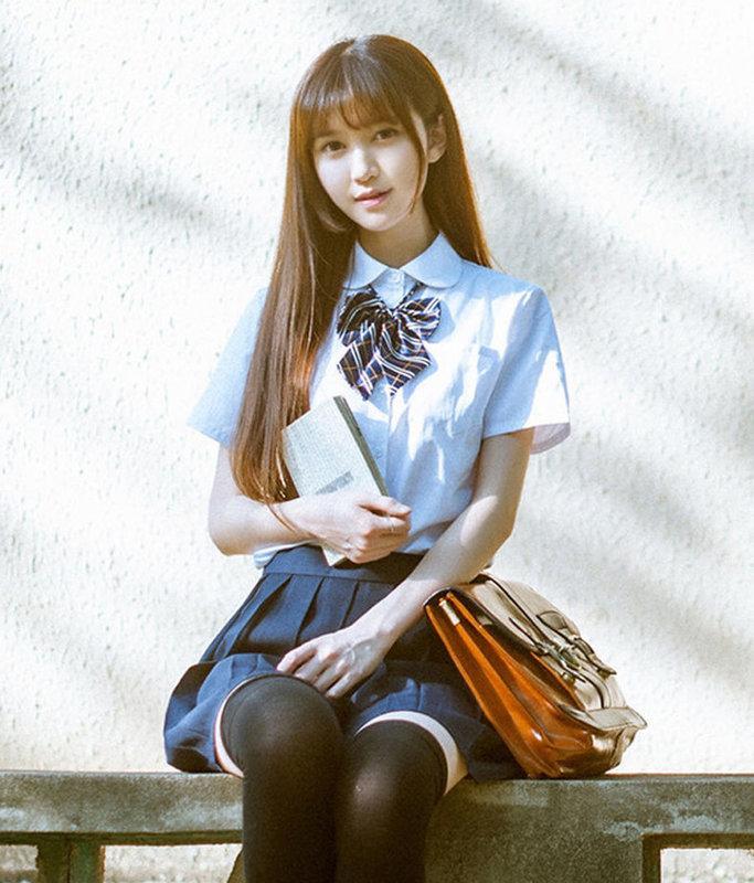 【韓風巷】 2套免運  女學生制服四件組套裝  女衣(雪紡長袖.短袖)+裙子+贈(領結)+贈(黑色襪子)