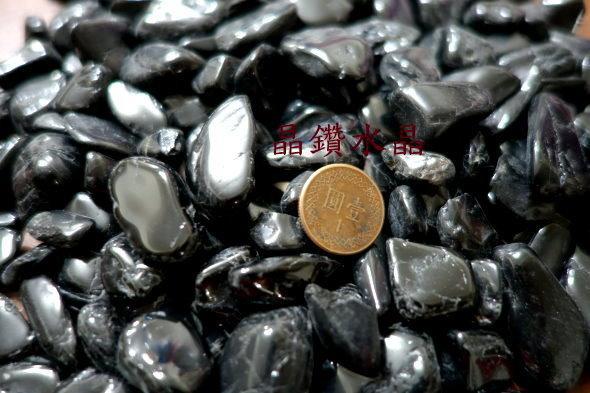 『晶鑽水晶』正統巴西黑碧璽粒 滾石~鏡面光澤~又黑釉亮~超值特惠中-300公克裝