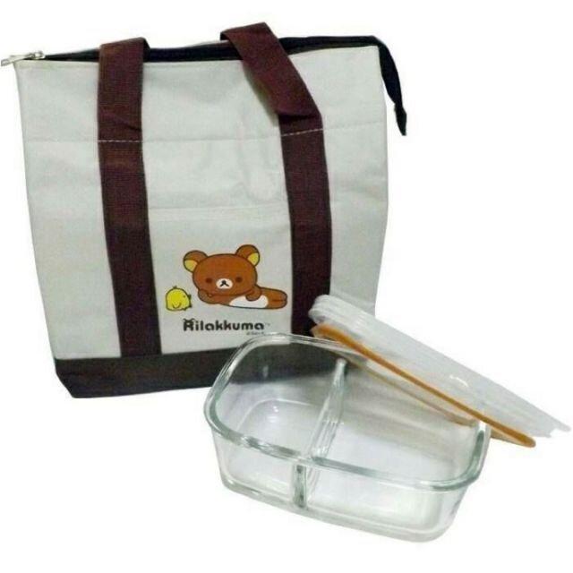 拉拉熊保溫袋+保鮮盒 830ml Rilakkuma 玻璃分隔 玻璃保鮮盒 保冷袋 華南金紀念品 微波飯菜更美味~!