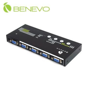 【康畢特電腦】BENEVO 桌上型 4埠VGA影音自動切換器(自動、按鍵切換) ( BVAS401B)