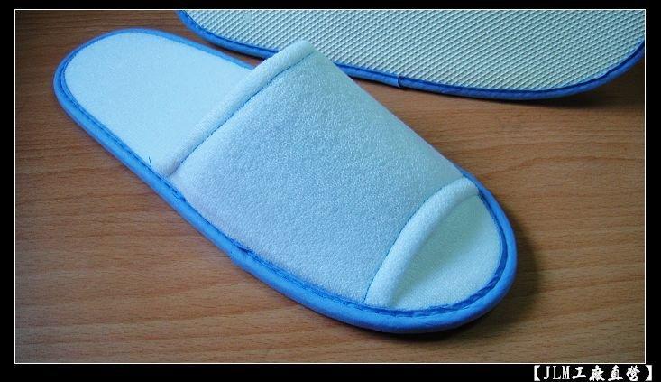[JLM工廠直營] PC-02A(藍) 高級毛巾布拖鞋『室內拖鞋.飯店拖鞋.免洗拖鞋.不織布拖鞋.毛巾布拖鞋.皮拖鞋』