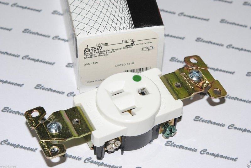 美國 COOPER 白色單孔單聯醫療級插座 8310W 20A 125V NEMA 5-20 (SINGLE型)