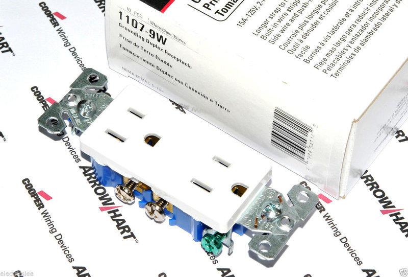 美國COOPER 白色方形插座 1107-9W15A125VNEMA 5-15 (DECORATOR型)