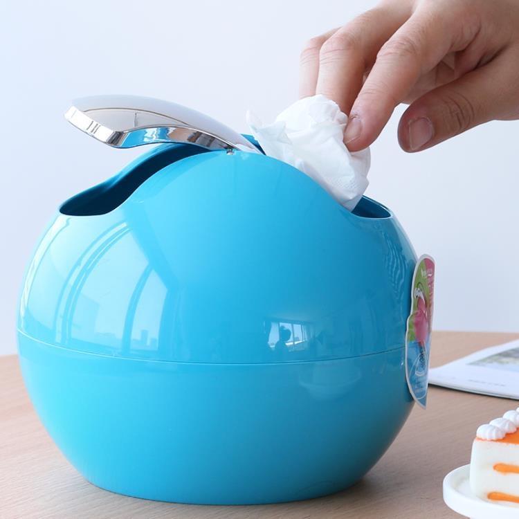 圓形搖蓋小垃圾桶桌面家用書桌辦公桌茶幾床頭創意迷你垃圾桶有蓋【潮咖地帶】