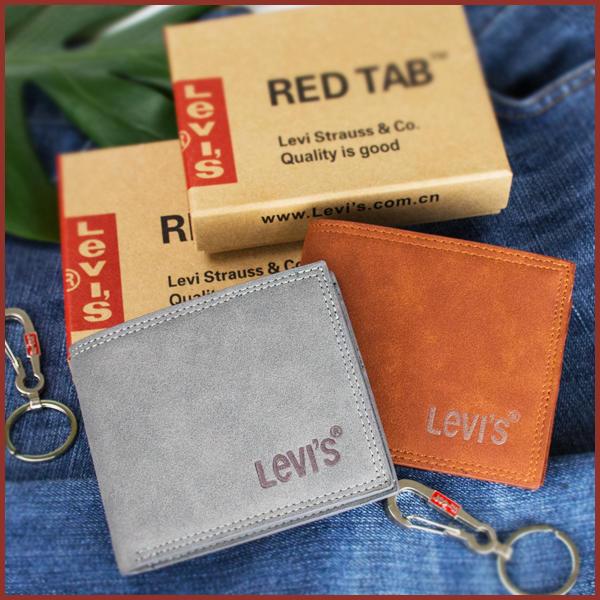 LEVI''S 501 牛仔褲絕對色 紅棕 / 煙灰 /   2色 麂皮 真皮 短夾 贈鑰匙圈