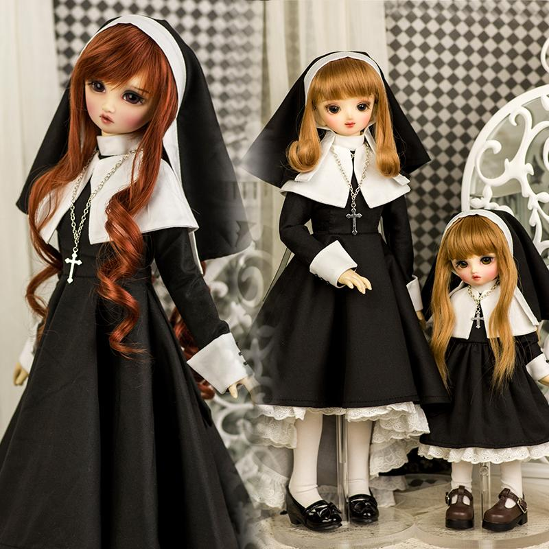 AMORS品牌新品娃衣套裝bjd娃衣346分巨嬰尺寸修女裝COS洋裝