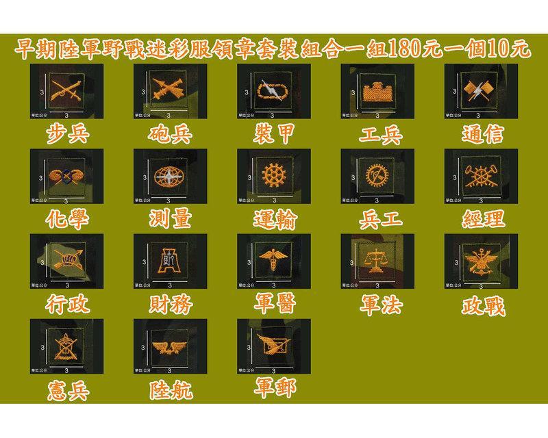 二王軍警防身百貨用品★☆早期陸軍野戰迷彩服領章套裝組合一組180元一個10元
