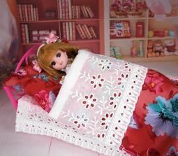 小禎ㄟ雜貨 莉卡娃娃配件組 館主手工 桃色花床組 含床 被子 枕頭 娃娃床 適合30公分內的娃