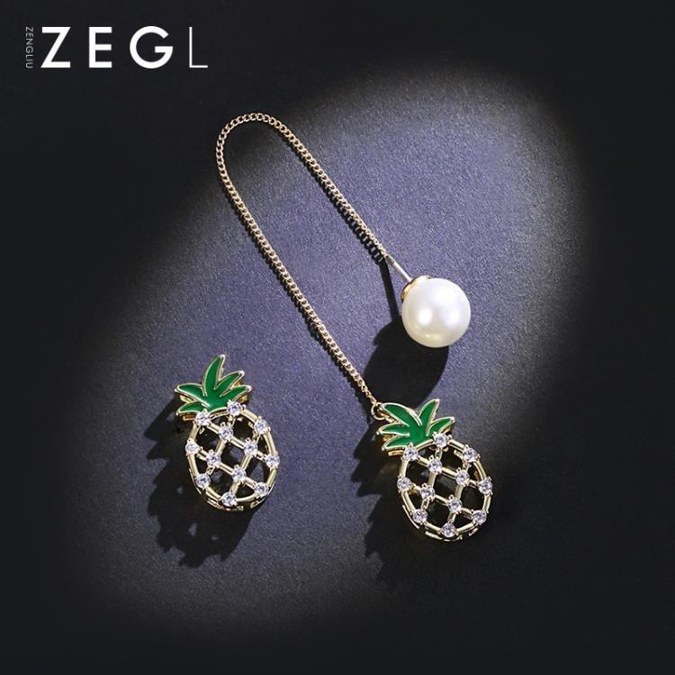 ZENGLIU不對稱菠蘿耳環長款耳墜少女心ins耳釘個性韓國氣質耳飾品【潮咖地帶】