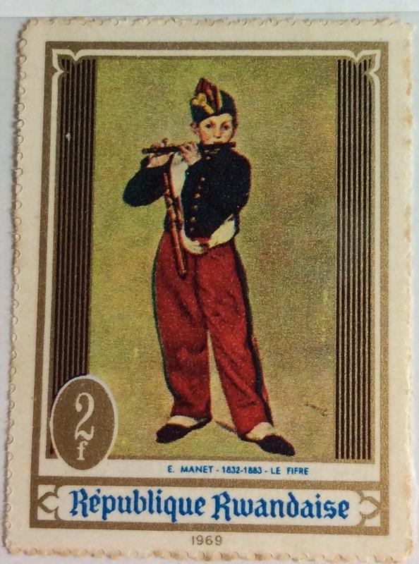 盧安達繪畫郵票(1969,2f6)齒孔背膠泛黃