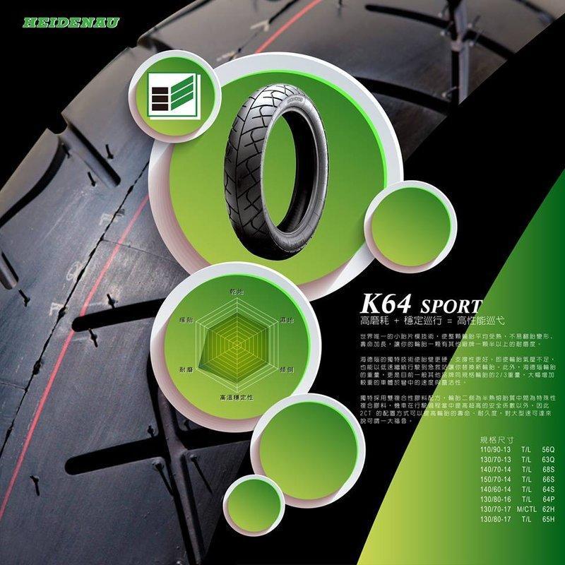 【 輪將工坊 】HEIDENAU(德國海德瑙輪胎) K64 刺龍 高性能運動胎 130/70-13 SMAX 後輪
