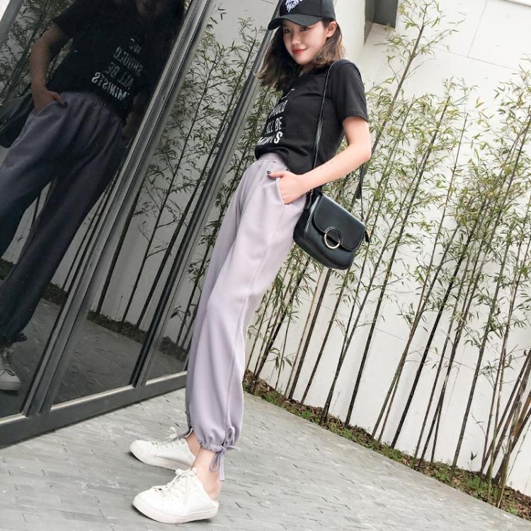 運動褲女夏褲子學生韓版寬鬆原宿bf闊腿褲百搭束腳燈籠褲薄