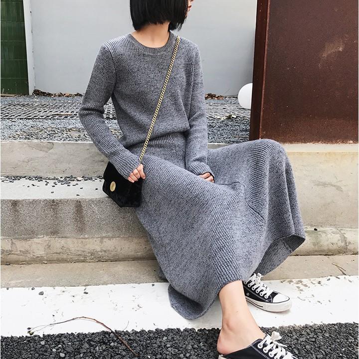 歐美韓版復古英倫風簡約慵懶休閒性感百搭針織圓領套頭長袖針織上衣毛衣針織裙A字傘狀過膝長裙套裝2件組