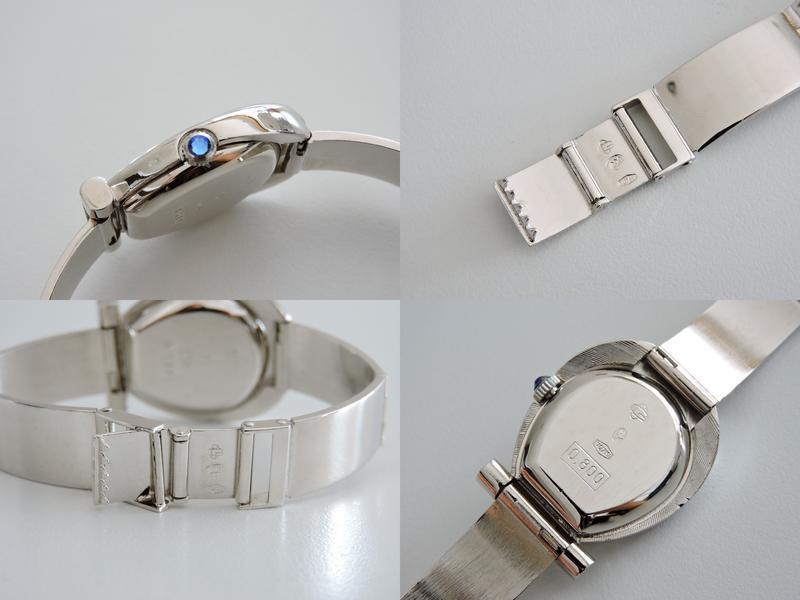 原裝真品 正800純銀質 白K包金 寶齊萊 BUCHERER 罕見時尚造型手動上鍊機械古董女錶