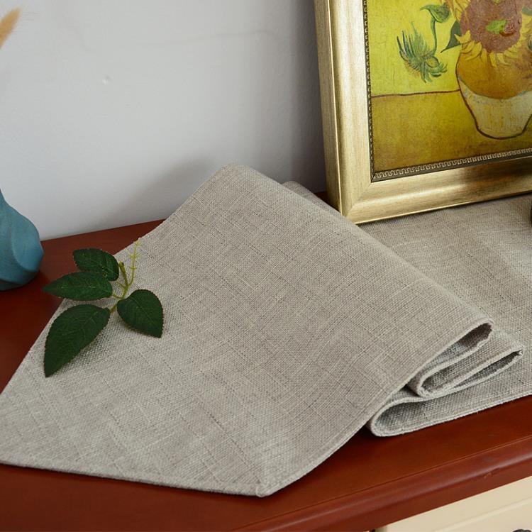 純色桌旗現代簡約中美式北歐電視柜鞋柜蓋布餐桌裝飾布長條床尾巾 【happy購】