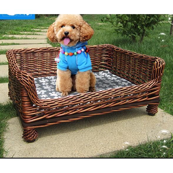 夏季狗窩柳藤編泰迪狗窩中大小型犬寵物房子貓窩小狗狗用品寵物床(現宅配)