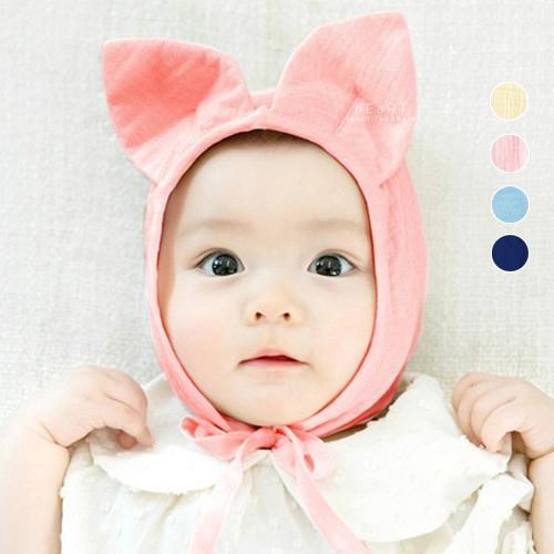 【小綠貓】立體大耳棉感護耳保暖帽 嬰兒帽 貓耳 胎帽 新生兒帽