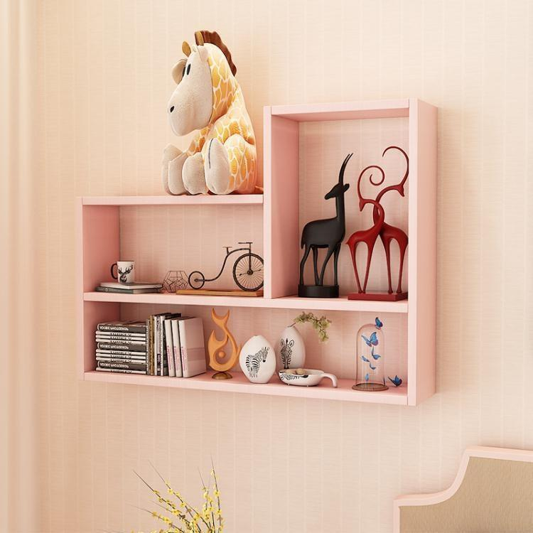 創意墻上置物架免打孔書架客廳背景墻壁掛架吊柜壁柜墻壁裝飾架  ATF