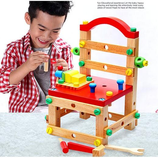 兒童益智可拆卸女寶寶組裝積木3-4-5-6歲7男孩螺絲拆裝工具箱玩具(現宅配))