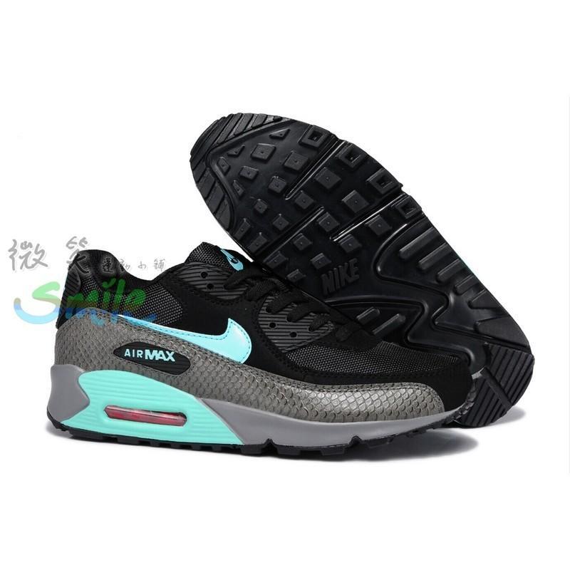 NIKE AIR MAX 90 氣墊 透氣 蛇紋 快走 運動 休閒 慢跑鞋 黑灰藍 男女鞋