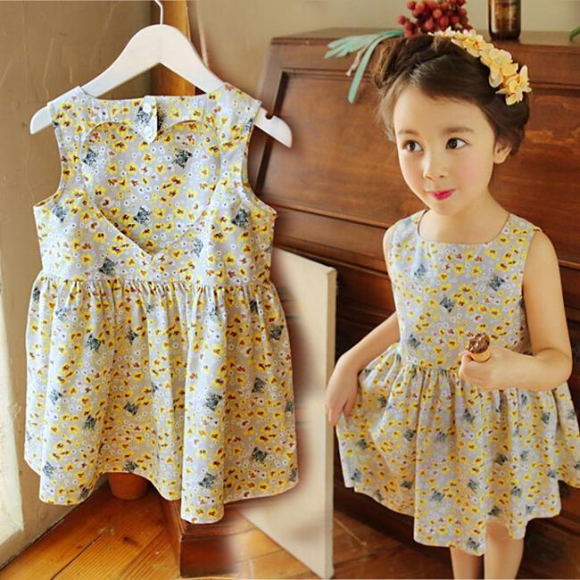 女童連衣裙夏裝16夏季小女孩純棉心形露背碎花無袖公主裙寶寶裙子