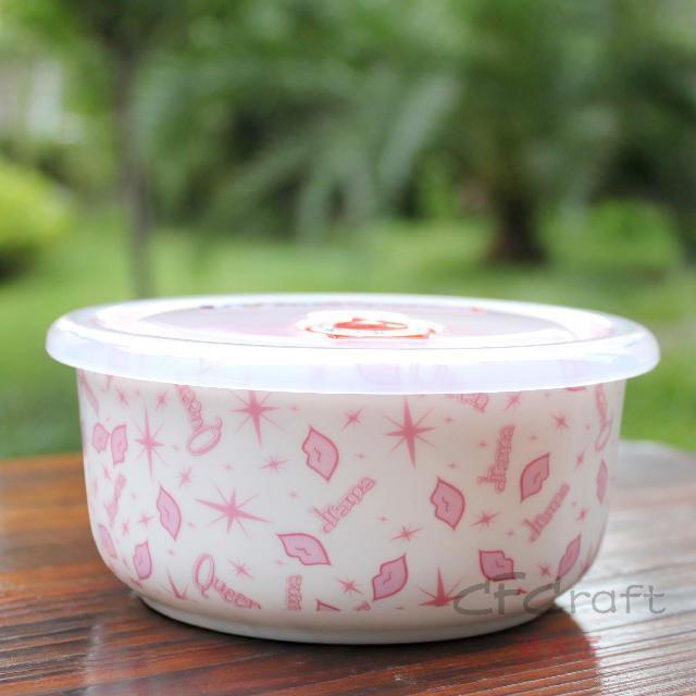 陶瓷陶瓷飯碗帶蓋密封碗保鮮飯碗中號骨瓷保鮮碗皇后夢想