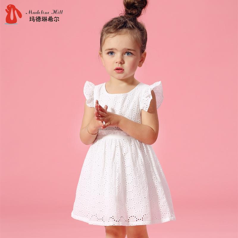 女童夏季裙子純棉蕾絲嬰兒連衣裙夏裝兒童1-2-3歲5女孩寶寶公主裙