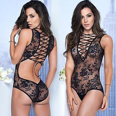 性感內衣 歐美性感女式全蕾絲情趣內衣系帶連體衣鏤空系帶情趣 女士