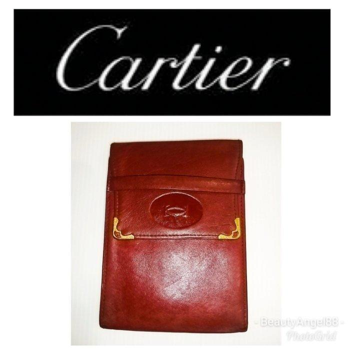 新 Cartier 卡地亞 中夾 信用卡夾 名片夾 真皮 酒紅色 皮夾 小牛皮 錢包$488 1元起標 真品