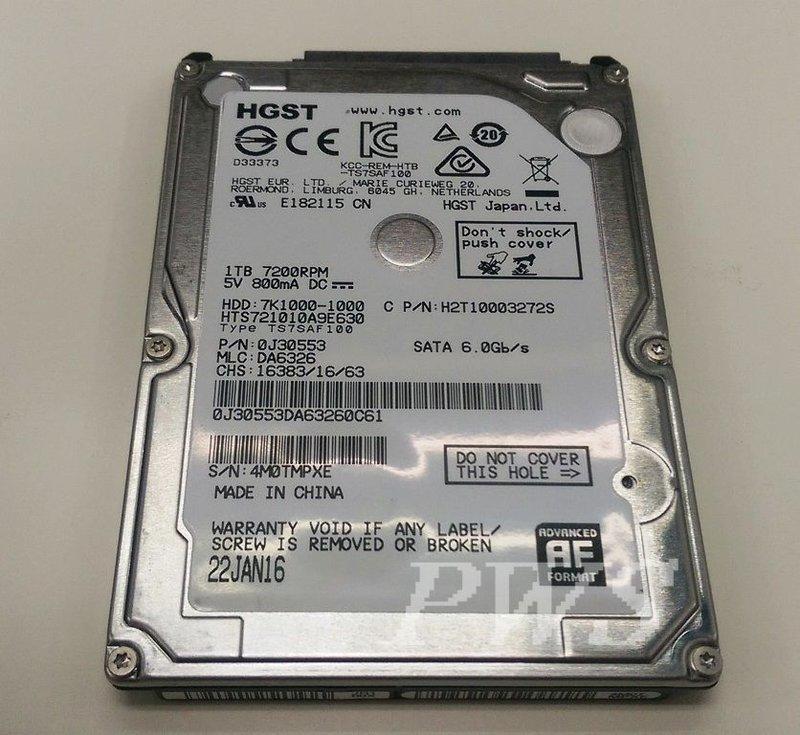 【日立 Hitachi Travelstar 7K1000 1TB 2.5吋 SATA硬碟 7200轉】展示機升級拆下