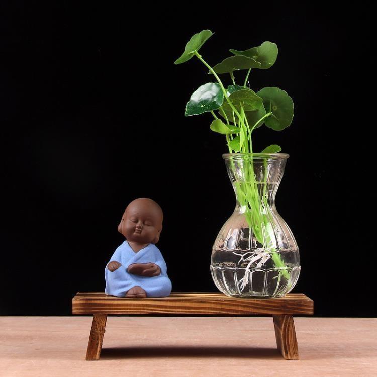 綠蘿植物玻璃花器 玻璃小花瓶客廳辦公室擺件