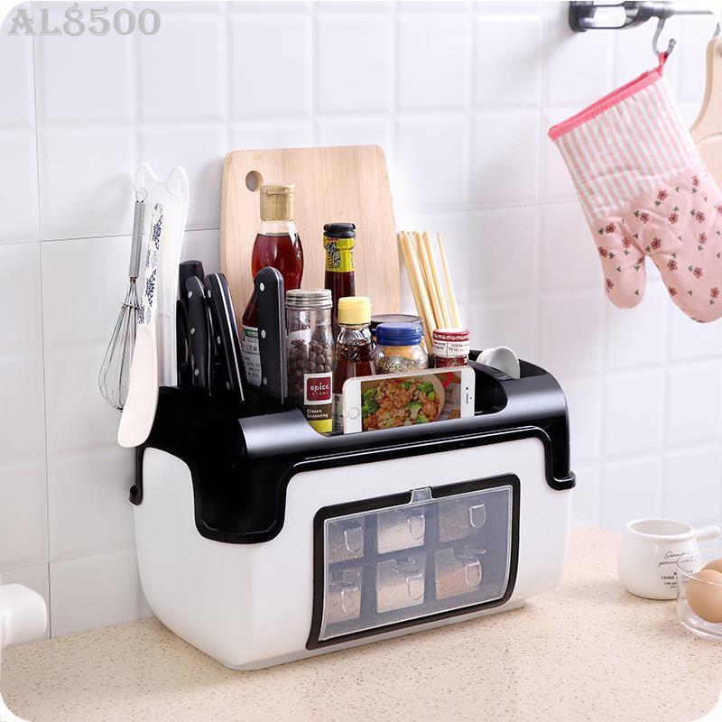 (♥) 多功能調料盒帶蓋收納盒組合裝 廚房用品塑料調味瓶置物架