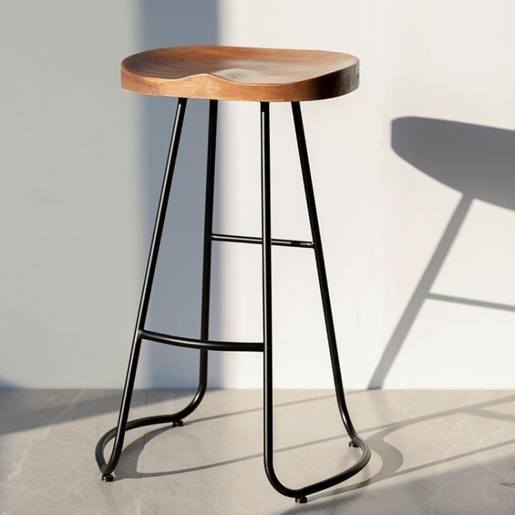 現代簡約吧台椅實木北歐家用酒吧創意咖啡休閑餐凳復古鐵藝高腳椅ATF