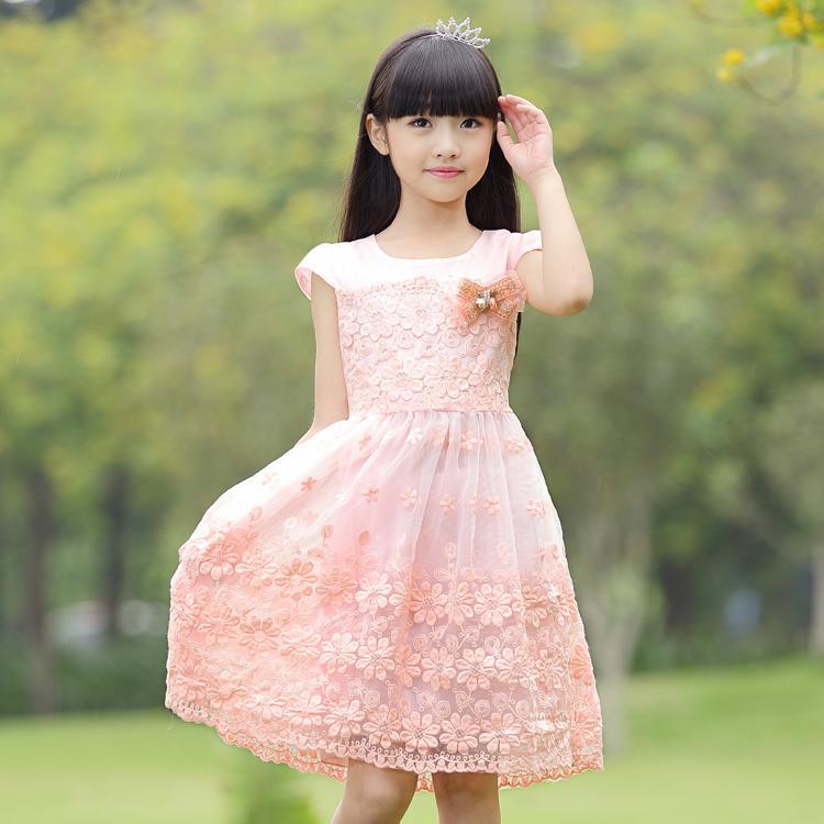 童裝女童夏裝連衣裙2016新款中大童純棉夏季短袖兒童公主網紗裙子