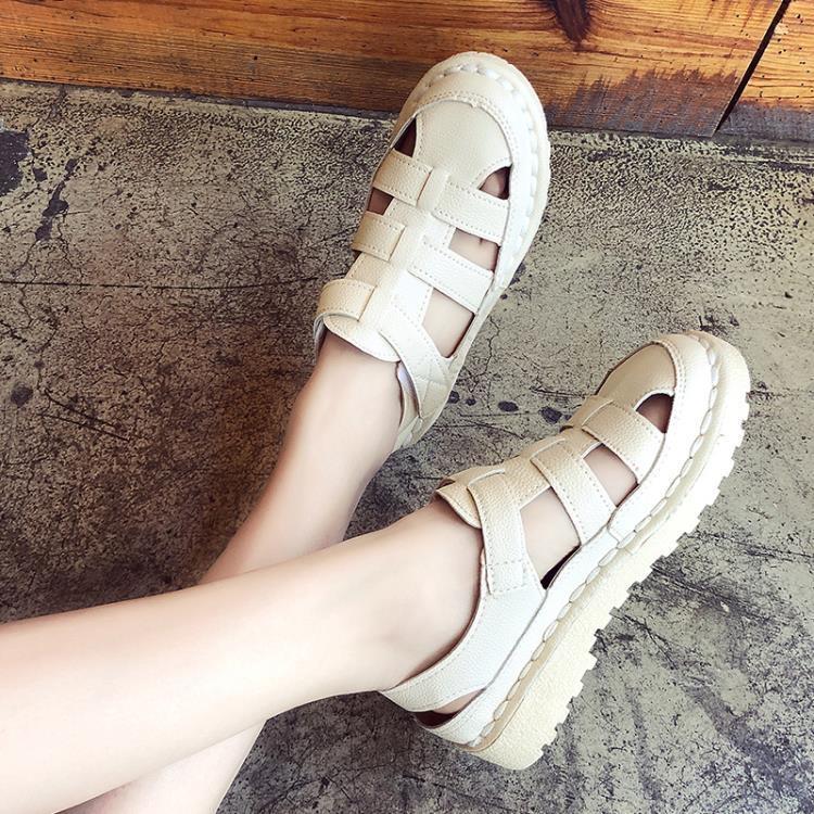 包頭涼鞋女ins潮鬆糕厚底鏤空羅馬鞋學生百搭超火仙女風夏季