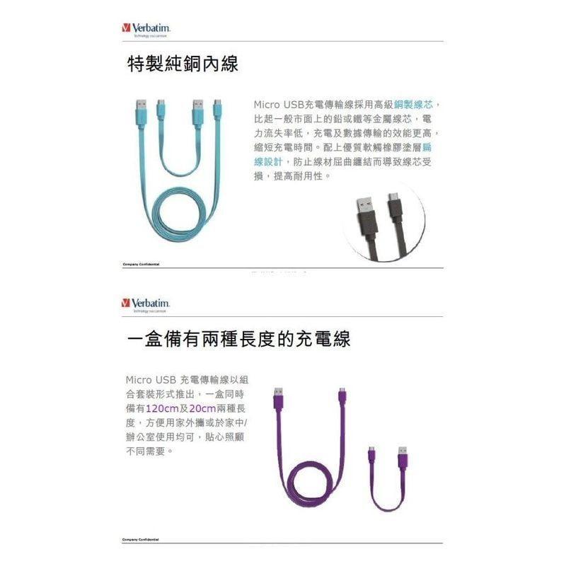 【Verbatim威寶】純銅內線 Micro USB Cable 扁線一盒 (內含120cm+20cm=2條) 三色可選