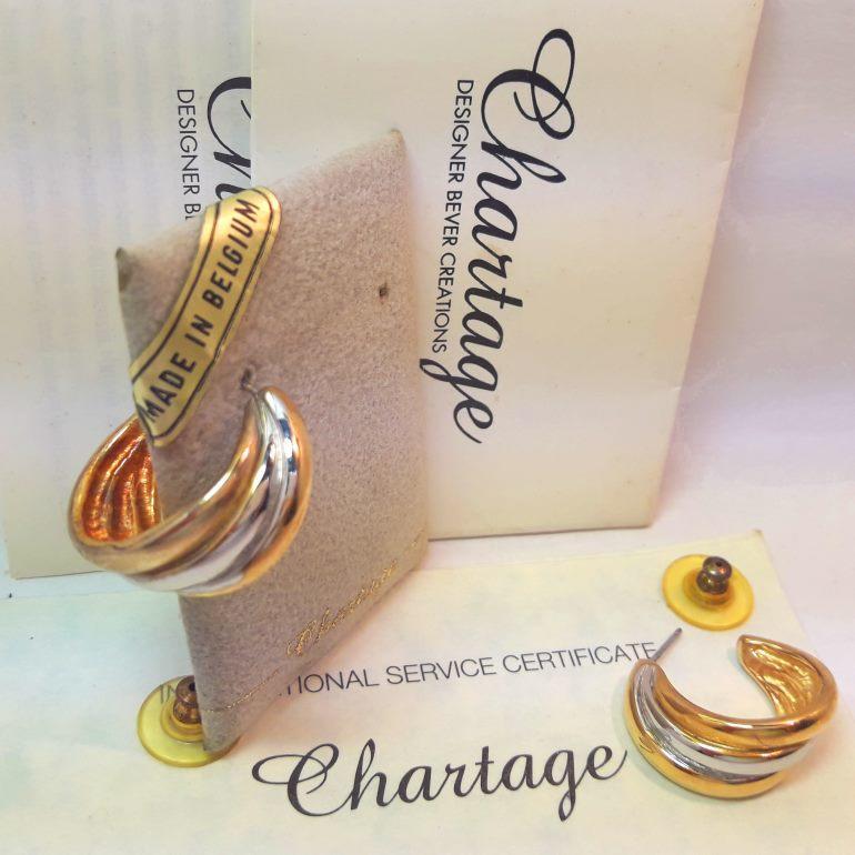【比利時 Chartage】無過敏無鎳包18K金鑲嵌水晶鑽三色穿耳耳環( 99213251 )