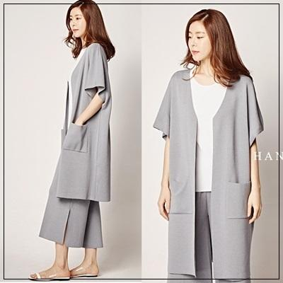 韓國妹 cb28816 ❤韓國頂級奢華正品 頂級雙口袋最美短袖針織薄外套 ❤5色