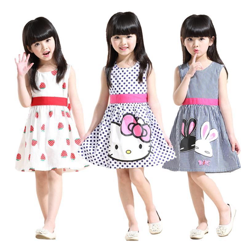 兒童連衣裙2016夏季新款童裝女童中大童寶寶純棉背心裙卡通公主裙