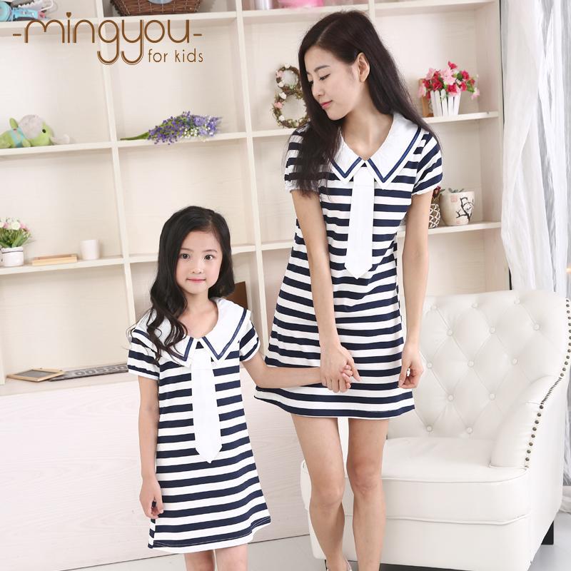 童裝女童2016夏季新款純棉 中大童大碼海軍風短袖藍白條紋連衣裙