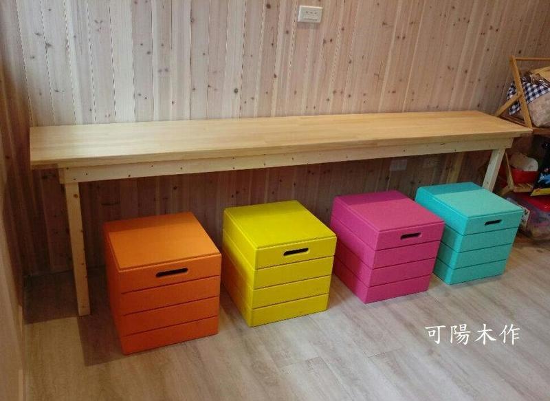 【可陽木作】原木彩色箱型椅 / 木箱椅 / 展示箱 / 木條箱 / 展場木作 / 木椅 木凳 庭園椅 穿鞋椅